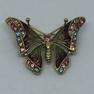 Vintage Liz Claiborne Crystal Butterfly Brooch